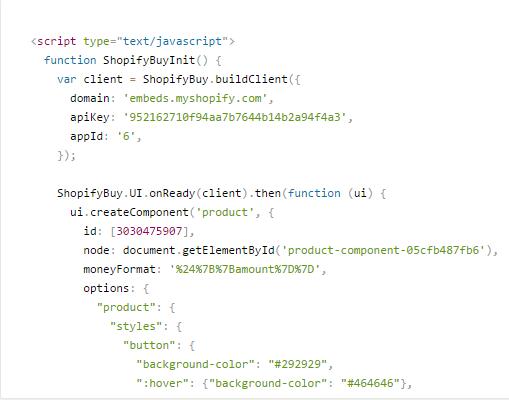 Shopify embedded code