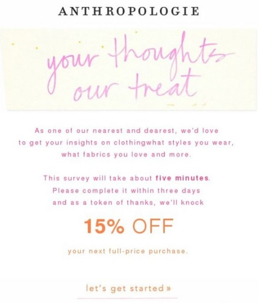 Anthropologie Email Copywriting Example