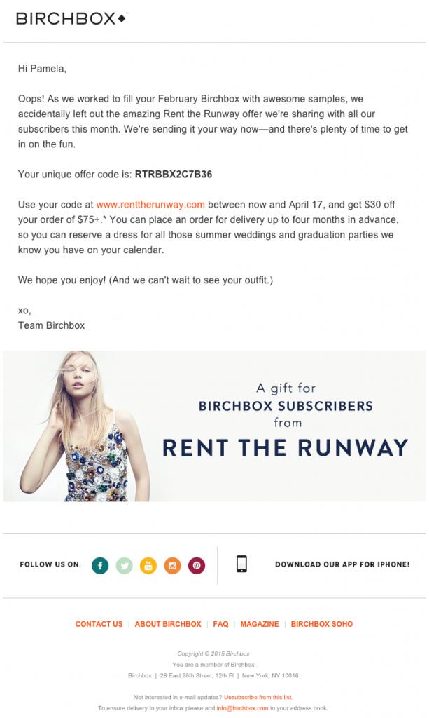 Birchbox Email Copywriting Example
