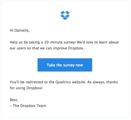 Dropbox Email Copywriting Example