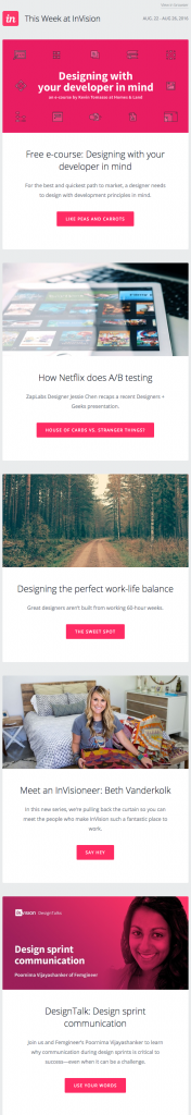 invision Email Copywriting Example