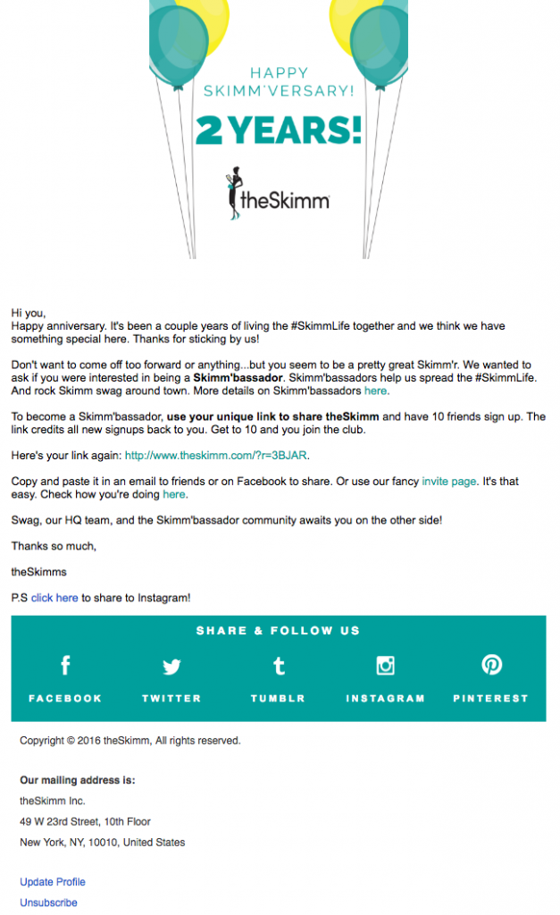 The Skimm Email Copywriting