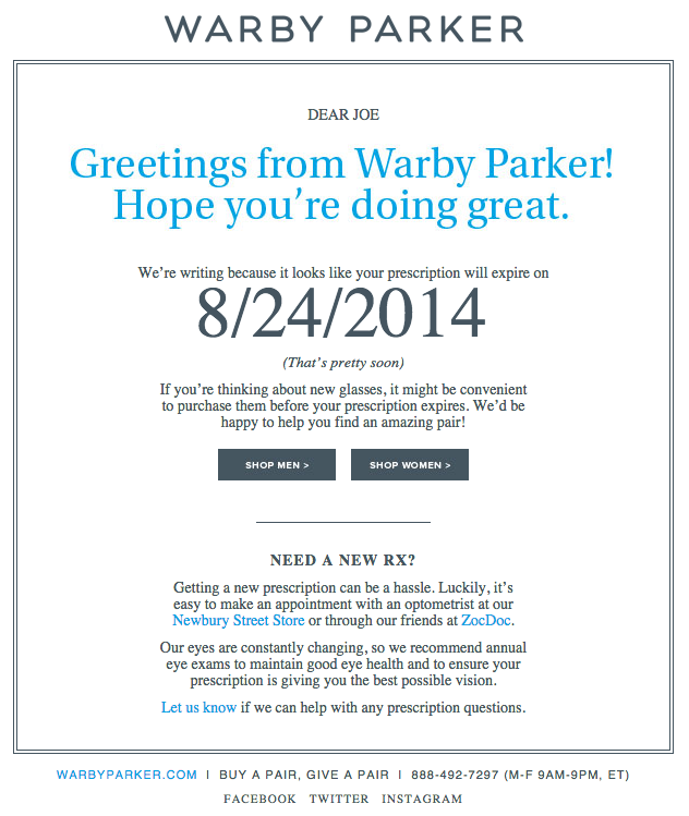 Warby Parker Email Copywriting Example