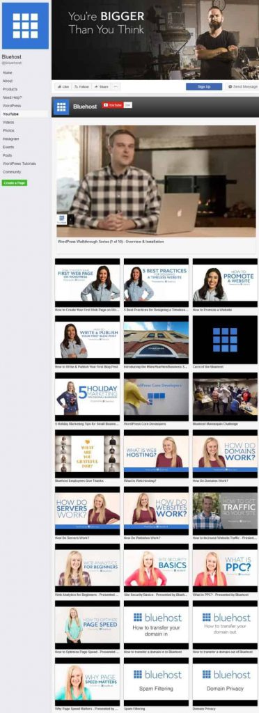 Bluehost Facebook Page Design