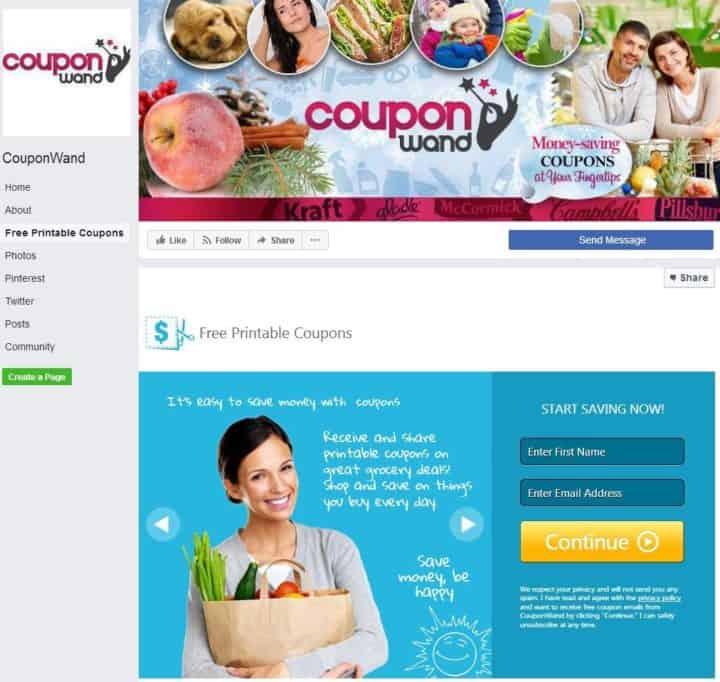 Couponwand Facebook Page Design