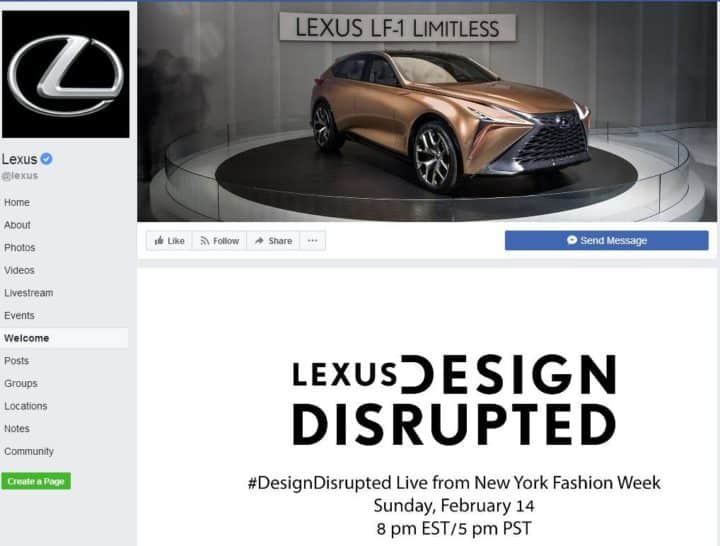 Lexus Facebook page Design
