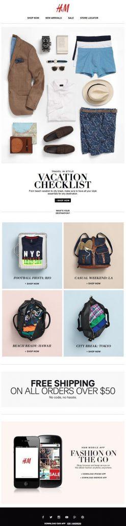 H&M email design