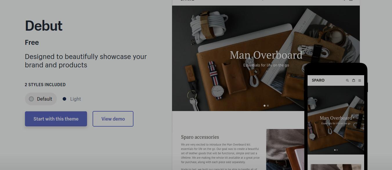 Debut - free theme for shopify