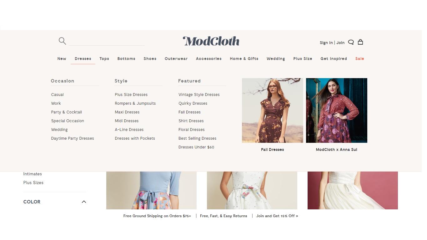 Modcloth eCommerce Store Design