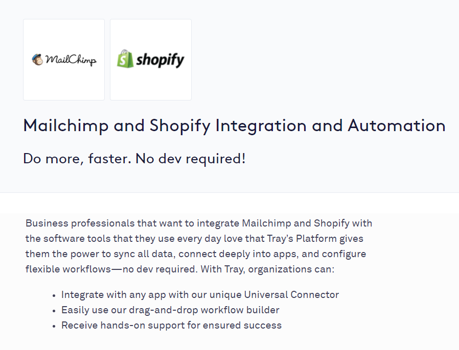mailchimp and shopify integration automation