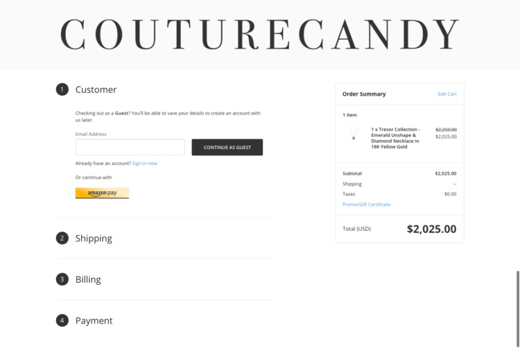 Couture Candy Shopping Checkout page